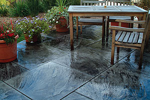 Stamped Concrete Patio Using Coloring Hardener